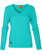 Luxe Oh` Dor 100% Cashmere Cashmere Luxury V-Neck Sweater Lagoon Green 34 XS/S