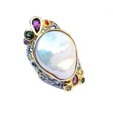 Baroque freshwater white pearl AAA+ S925 silver Tourmaline Retro Ring 75.9ct 64