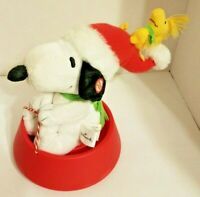 Hallmark Snoopy And Woodstock Sledding In Dog Bowl Sound and Motion