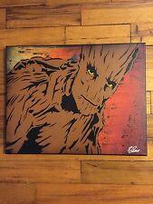 "Groot 11"" X 14"" Original Art Canvas Graffiti Marvel Guardians Of The Galaxy"