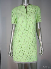 DVF Dress XS S Neon Lime Green Floral Lace Eyelet Tunic Short Sleeve Shift $428