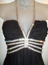Sky Clothing Brand XS Black Mini Dress Halter Rhinestone Crystal Club Party Sexy
