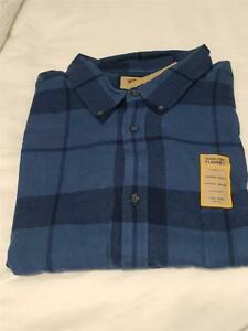 FOUNDRY MENS FLANNEL PLAID SHIRT NAVY  SZ 4XLT NWT