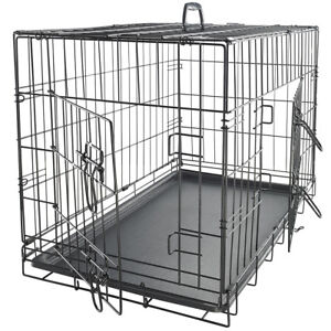 "48"" Dog Crate Double Door w/Divider w/Tray Folding Heavy Duty Metal Pet Cage"