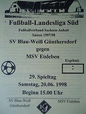Programm 1997/98 Blau Weiß Günthersdorf - MSV Eisleben