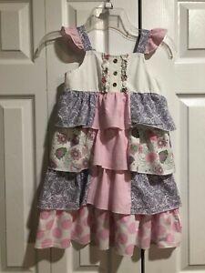 ADORABLE...Naartjie Girls Ruffle Layered Sleeveless Cotton Sundress Dress Size 7