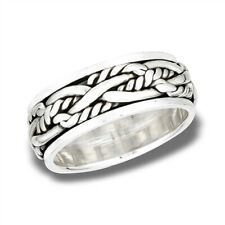 Sterling Silver Woven Rope Spinner Band Ring - Free Gift Packaging
