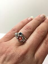 Red Black Enamel Flower Cz Stack Rings Sterling Silver