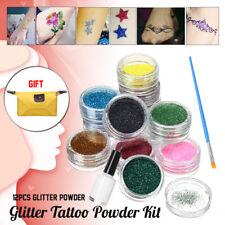 12 Colors Glitter Tattoo Powder DIY Art Henna Temporary Tattoo Stencils Glue Kit