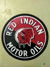 Red Indian Motor Oils Metal Sign, Vintage Inspired Advertisement