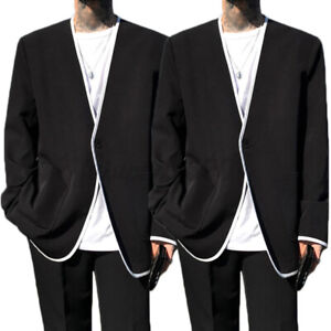 Mens Punk Gothic Jacket Outwear Loose Hippie Party Formal Causal Blazer Overcoat
