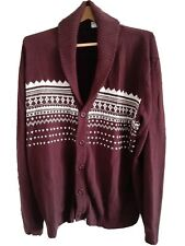 Vintage Haband Men's Burgundy Cardigan Sweater Size 2X Button Up Grandpa Retro