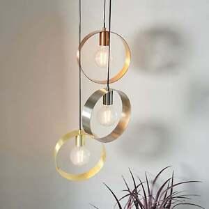 Endon Lighting Hoop 3lt Pendant Light in Brushed Brass Copper & Nickel