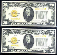 1928 $20 Gold Certificate-2 con-Fr#2402-Gem-Rare-1Pc Only=$2480