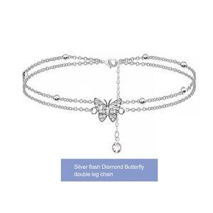 1 Stück Damen Schmetterling Fußkettchen Zirkonia Charm Fußkette Verstellbar