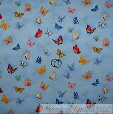 BonEful FABRIC Cotton Quilt Blue Suzy Zoo Pink Butterfly Rainbow Flower 99 SCRAP