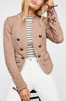 Free People Seamed Structured Band Jacket Military Blazer Button Cuffs OB657201