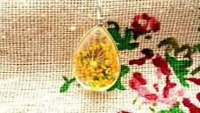Resina de Flores Secas Lágrima Colgante Plata Jewellery Supplies C938 Amarillo