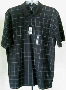 NWT Men's VAN HEUSEN Polo Shirt Size Large Black White Check  Cotton Blend New
