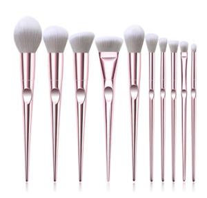 Schön Rosa Metallisch Make-Up Pinsel Set x10 + Hülle Toll Geschenk Global