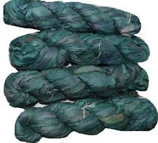 100g Sari Silk Ribbon craft ribbon, jewelry making green1 shades multi