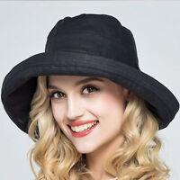 Women's Anti-UV Wide Brim Summer Beach Cotton Bucket Sun Protective Hat Y76