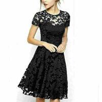 Plus Size Elegent Women Lace Floral Prom Evening Party Bridesmaid Wedding Dress