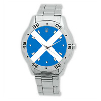 Men's Scotland Flag Country Scottish Watch Stainless Steel Bracelet Strap Watch