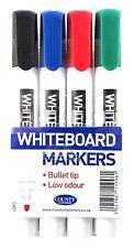 4 X White Board Marker Pens Dry Wipe Easy Erase Whiteboard Eraser Bullet Tip Set