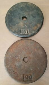 """2- 20lb Pancake Weight Plates- 40lbs Total- Cast Iron 1"""" Hole Vintage"""