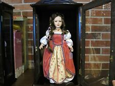"ASHLEY BELLE PORCELAIN DOLL ""HOLLY"" WITH COA ---- WOOD AND GLASS DISPLAY CASE"