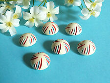 "1238B/Stunning Buttons "" Blue White Red "" Set Of 6 Buttons Ép. 1950"