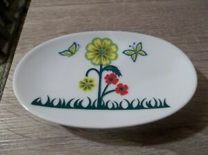 VTG? UNBRANDED FLORAL AND BUTTERFLY CERAMIC SOAP DISH NEW
