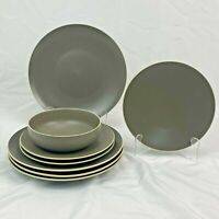 8 PIECE ODD LOT WEDGWOOD VERA WANG NATURALS GRAPHITE DINNER SALAD PLATES BOWL