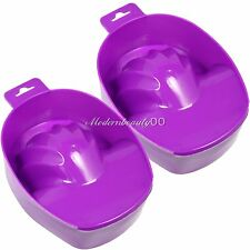 2PCS Purple Nail Art Tips Hand Soak Bowl Tray Treatment Remover Manicure Tool
