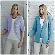 KNITTING PATTERN Ladies Easy Knit Bolero & Cardigan Bamboo Cotton 4ply 4481