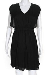 Theyskens Theory Womens Silk V Neck Diller Dress Black Size Petite