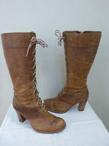 FRYE VILLAGER LACE 11 M Brown Distressed Leather Tall Stacked Heels Zip Boots