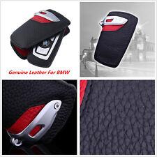 Sport Line Genuine Leather Key Case FOB Holder For BMW 1 3 7Series X5 Black Red