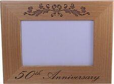 50th Anniversary - 4x6 Inch Wood Picture Frame - Great Anniversary gift for frie