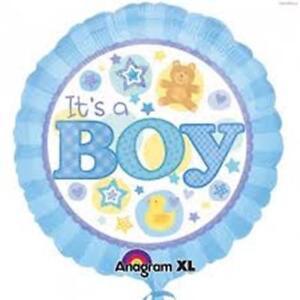 Its a Boy Balloon 18 in Blue Gingham Teddy Bear Duck Baby Shower Gender Reveal