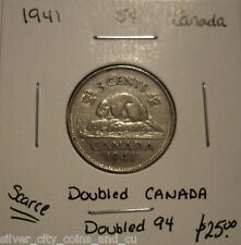 Canada George VI 1941 Doubled 94 & CANADA Five Cents