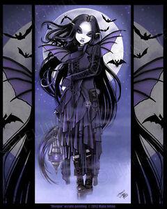 Gothic Vampire Bat Purple Moon Morgan Dark Fairy Signed Myka Jelina Art Print