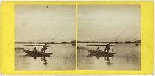 PHOTO STEREOSCOPIQUE G.W. WILSON - LOCH OF PARK, ABERDEENSHIRE - PIKE FISHING