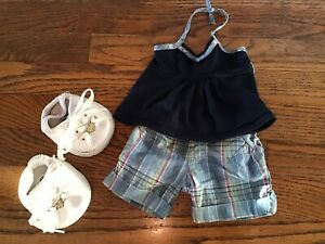 BABW Build a Bear Clothes LIMITED TOO💙 SHORTS & HALTER TOO + SKECHERS SHOES