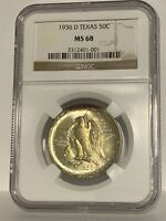 1936 D NGC MS 68 Texas Commemorative US Half Dollar 50c Silver Commem MS68