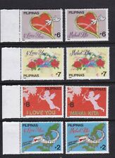Philippines Valentines 1992 8 different values, Roses, Heart complete set NH