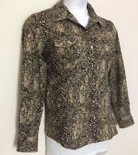 Style & Co Snake Print Blouse Size 14 Western Snaps Down The Front Two Pockets