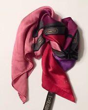 Coach Silk scarf 20 X 20 Made In Japan Red, Purple, Wine, Pink Purse Scarf