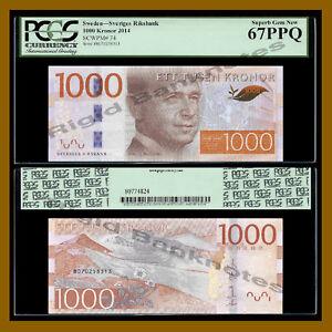 Sweden 1000 (1,000) Kronor, 2014 P-74 PCGS 67 PPQ